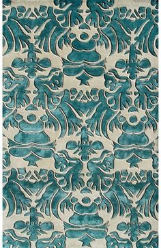 teal area rugs | Rug Market Venice Teal Blue/Tan Area Rug - The Rug Market - Home and ...