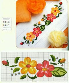 floral / border / towel / o / yellow / red Cross Stitch Boards, Cross Stitch Bookmarks, Counted Cross Stitch Patterns, Cross Stitch Designs, Cross Stitch Embroidery, Floral Border, Cross Stitch Flowers, Loom Beading, Cross Stitching