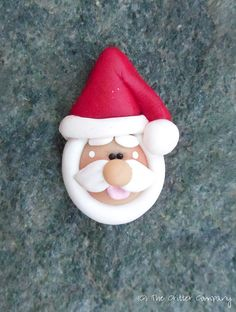 *POLYMER CLAY ~ Santa Claus- Christmas Polymer Clay Bead or Hair Bow Center with Horizontal Hole by The Critter Company