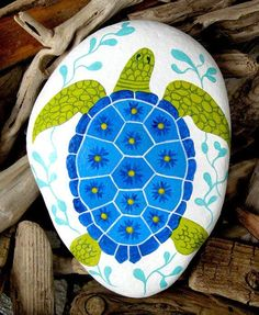 Hand Painted Cape Cod Beach Stone/Whimsical Sea Turtle/Unique Paperweight/Sea Life/Blue/Coastal Decor/Decorative/Beach Art/Summer #Stone Art