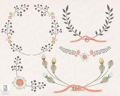Floral wreaths laurels ribbons clip art vector by GrafikBoutique