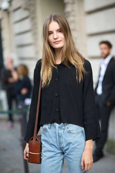 mom jeans, brown vintage bag. Paris Street Style Spring 2015 - Best Street Style Paris Fashion Week - Harper's BAZAAR