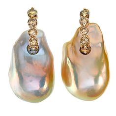 Rainbow Pearl Champagne Diamond Pearl Earrings. What a stunning orient!