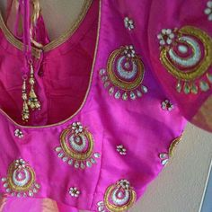 To order WhatsApp Sari Blouse Designs, Blouse Patterns, Blouse Styles, Indian Attire, Indian Ethnic Wear, Indian Outfits, Maggam Work Designs, Modern Saree, Blouse Models
