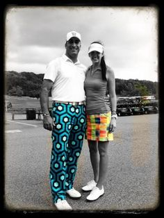 #Golf4Her teeing it up in style with Michael Michaelides from the #Golf Channel's Big Break Michigan rocking the popular #LoudMouthGolf apparel. Pant in 'Palm Beach' pattern, the skort is 'Grass'.