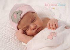 Pink and White Hospital Newborn Beanie, with Elephant, Baby Girl Hospital Hat, Newborn Girl Hat by Infanteenie Beenie on Etsy!