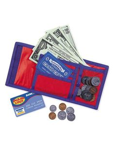 Learning Resources Cash 'N' Carry Wallet: Learn the value of money with this play wallet and play money. Includes 30 bills, 40 coins, pretend credit card, and bank card. Features zippered coin compartment and suggested activities. Velcro Wallet, Play Money, Basic Math, Bank Card, Dramatic Play, Financial Literacy, Play To Learn, Learning Resources, Learning Centers