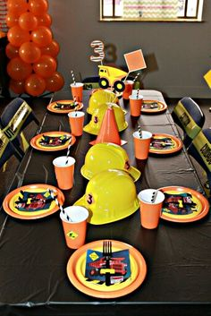 Table set up for construction party