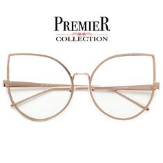 Premier Collection-Oversize 64mm Stunning Concentric Metal Wire Cat Eye Silhouette Clear View Eyewear