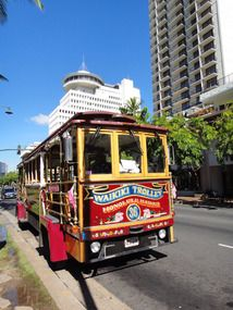 Oahu, downtown Honolulu catch the Waikiki Trolley to travel to most of the special tourist attractions. You can ride it all day for one low price.  Do it, it is worth it.