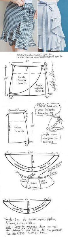 DIY – molde, corte e costura – Marlene Mukai. Saia envelope com babados. Esquema de modelagem de saia envelope com babados cortados no godê do 36 ao 56.