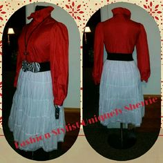 Plus JH. Collections Red Ruffle Blouse Plus JH Collections Red Ruffle Blouse, long sleeve, button down front, high ruffle neck, 100 % polyester. nwt. Size 14. *Belt/Necklace NOT for sale. *Plus size Skirt sold separately. JH Collections  Tops Blouses
