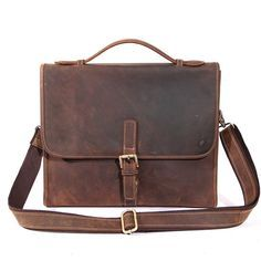 Vintage Crazy horse Leather Men Bags Men's Briefcase Laptop Bag Handbag