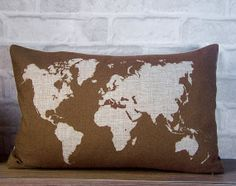 SALE -World map lumbar pillow -cotton linen decorative throw pillow -world map pillow -golden brown cushion cover - accent pillow on Etsy, $21.90