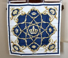 """vintage 1969 HERMES """"Crowns"""" silk scarf in white, navy, and gold"""