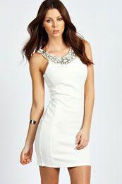 Sophie Embellished Neck Trim Bodycon Dress