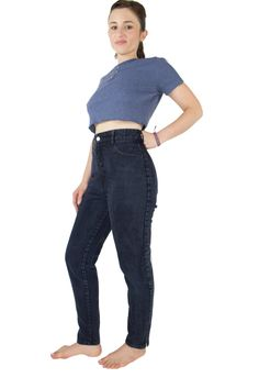 90s Vintage Bongo High Waisted Jeans | Blue Black Ankle Zip Denim | Size US 9 | Grunge Goth Rockabilly Mom Jeans by MainAndGrand on Etsy