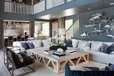 Custom Home Rehoboth Beach - beach-style - Family Room - Dc Metro - OPaL, LLC. Beach Living Room, Coastal Living, Coastal Decor, Coastal Interior, Cottage Living, Coastal Cottage, Interior Design Guide, Custom Homes, Living Room Designs