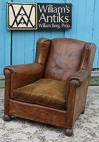 Vintage French Leather Club Chair Voges Single Wingback