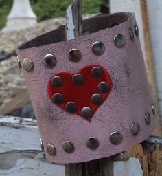 pink distressed LEATHER CUFF bracelet with studs by whackytacky, $39.99