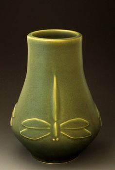 Class Arts and Crafts Dragonfly Vase | JW Art Pottery