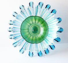 Garden Art Plate Glass Flower