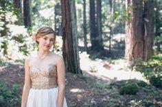 santa cruz mountains rustic wedding bridal portrait via Gather West Photography