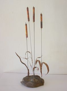 Mid century modern Brutalist river reed sculpture, brass in burl