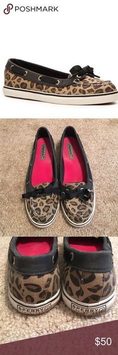 Sperry Top-Sider Hailey Leopard Boat Shoe These are in excellent condition! Such a cute leopard print and so comfortable! Sperry Top-Sider Shoes Flats & Loafers