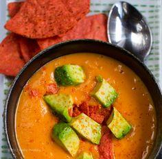 Sweet Potato Soup (in a Flash!) Avocado on top.