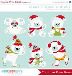 ON SALE  Christmas Polar Bears Clip Art / by MyClipArtStore, $2.40