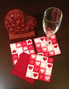 HandMade Heart Fabric Coasters with Red by LasmasCreations on Etsy, $12.00
