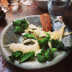 #crispy #chicken #skins #kimchi #burnt #kale #modern #britisch #the #manor #clapham #london #chef #dean #parker