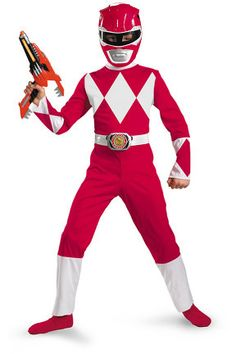 Hayden wants to be a power ranger.  I hate how the costumes have the faux muscles.  Since when did power rangers have muscles?