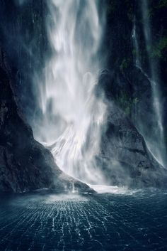 [South] Bowen Falls.  Milford Sound, South Island, New Zealand. By Karin Elizabeth