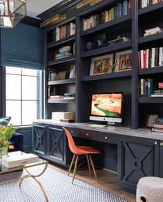 Office space with a beautiful dark  color, that illuminates the design of this room, stunning!