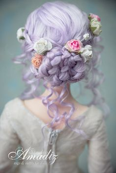 Winter rose Back by amadiz on DeviantArt Romantic Hairstyles, Pretty Hairstyles, Braided Hairstyles, Doll Wigs, Doll Hair, Ooak Dolls, Pretty Dolls, Beautiful Dolls, Ball Jointed Dolls