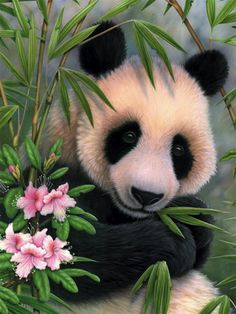 a panda with blossoms and bamboo