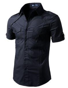 1756525f3cf Jtomson - Freedom of Fashion - Mens Summer Casual Short Sleeve ... Solid  Black