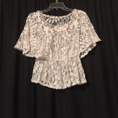 Lace top Ivory lace peplum top Tops Blouses