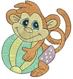 Beach Monkey Machine Embroidery Designs at Splinters & Threads