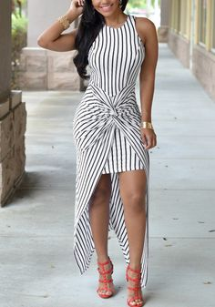Full front view of model in vertical stripe knotted-front wrap dress
