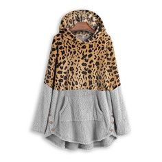 Leopard Color Block Button Side Teddy Bear Sweatshirt Hoodie 39.99 CAD Hooded Sweatshirts, Hoodies, Plus Size Outerwear, Hooded Sweater, Types Of Sleeves, Long Sleeve Tops, Chilly Weather, Kangaroo, Scrappy Quilts