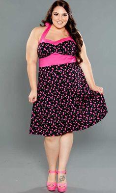 Plus Size Vintage Retro Dresses | Nellie Halter Dress | Curvy Kitten by Swakdesigns.com