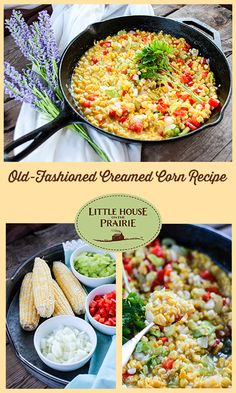 Old-Fashioned Creamed Corn Recipe - Little House on the Prairie Laura Ingalls, Vintage Food, Vintage Recipes, Vegetable Sides, Vegetable Recipes, Johnny Cakes Recipe, Homemade Cream Corn, Homemade Dinners, Pioneer Crafts