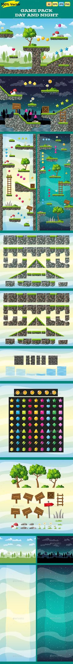 Game Pack: Day and Night - Jump and Run - Horizontal or Vertical - Tilesets Game Assets