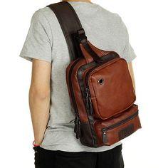 Men-039-s-Leather-Shoulder-Chest-Bag-Backpack-Crossbody-Bag-Sling-Bag-Riding-Outdoor
