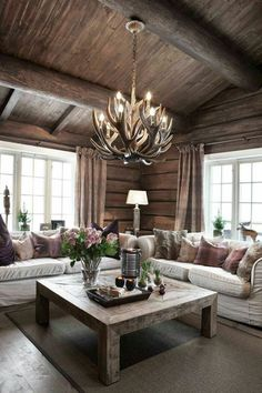 ✔ 69 best house interior design to transfrom your house 60 ~ anaksehat. Log Home Interiors, Cottage Interiors, Mountain House Decor, Cabin Interior Design, Log Cabin Homes, Living Room Designs, Home Decor, Modern Cabin Decor, Modern Log Cabins