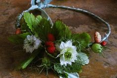 Wild strawberry and white nigella flower crown for an early summer bride // The Natural Wedding Company Summer Wedding, Diy Wedding, Strawberry Flower, Diy Crown, Wild Strawberries, Wedding Company, Flower Crowns, Nigella, Flower Fashion