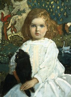 John Duncan, Portrait of Girl with Cat on ArtStack #john-duncan #art